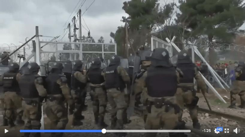 Video von der griechischen Grenze zu Mazedonien