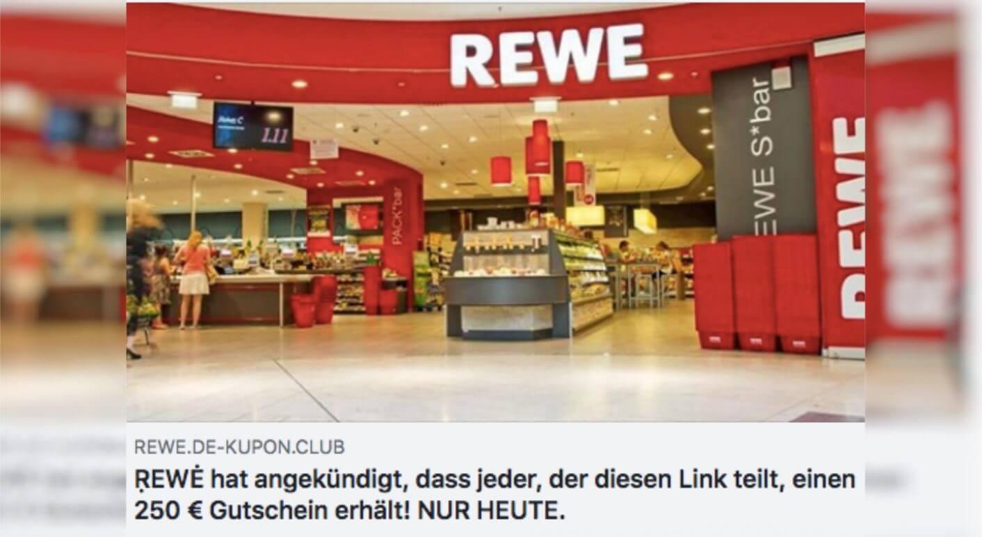 Das gefälschte Rewe Gewinnspiel auf Facebook