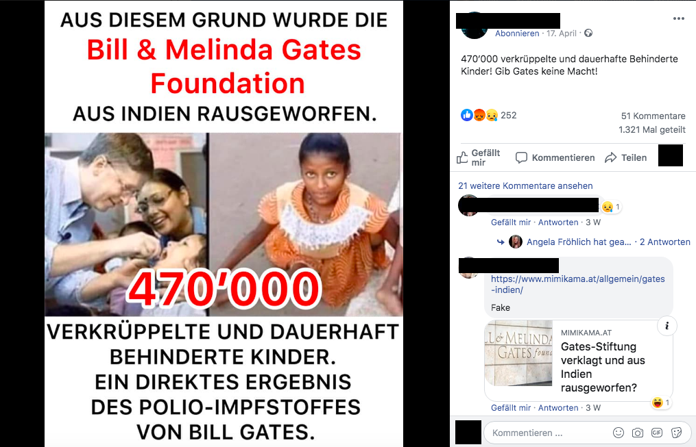 Facebook-Post zu Bill Gates
