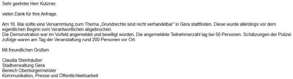 """Demonstration in Gera: Polizistin drohte mit """"Pfeffer"""", nicht mit """"Waffe"""""""