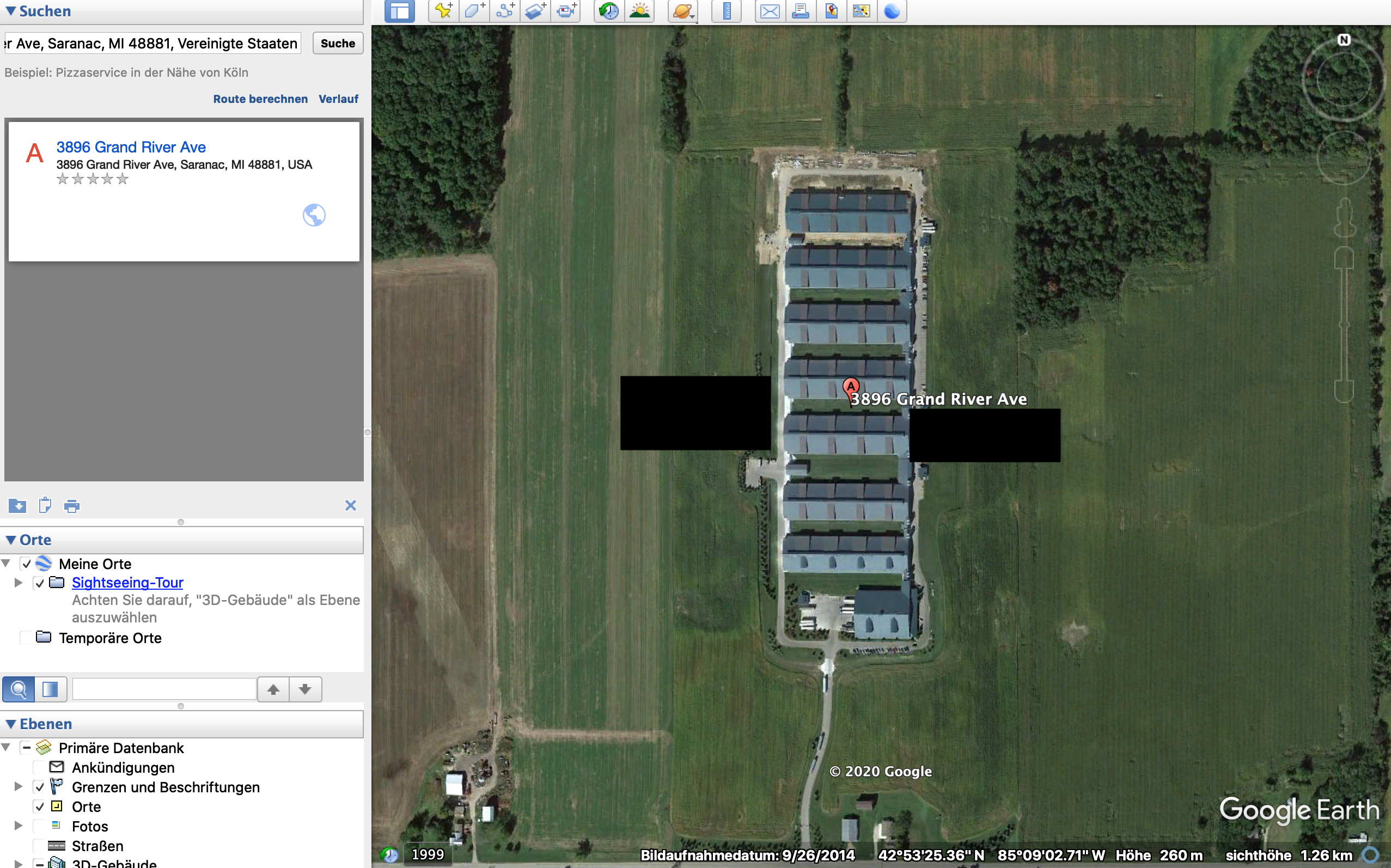 Ein Satellitenfoto der Herbruck's Farm vom September 2014. (Quelle: Google Earth Pro, Screenshot: CORRECTIV)