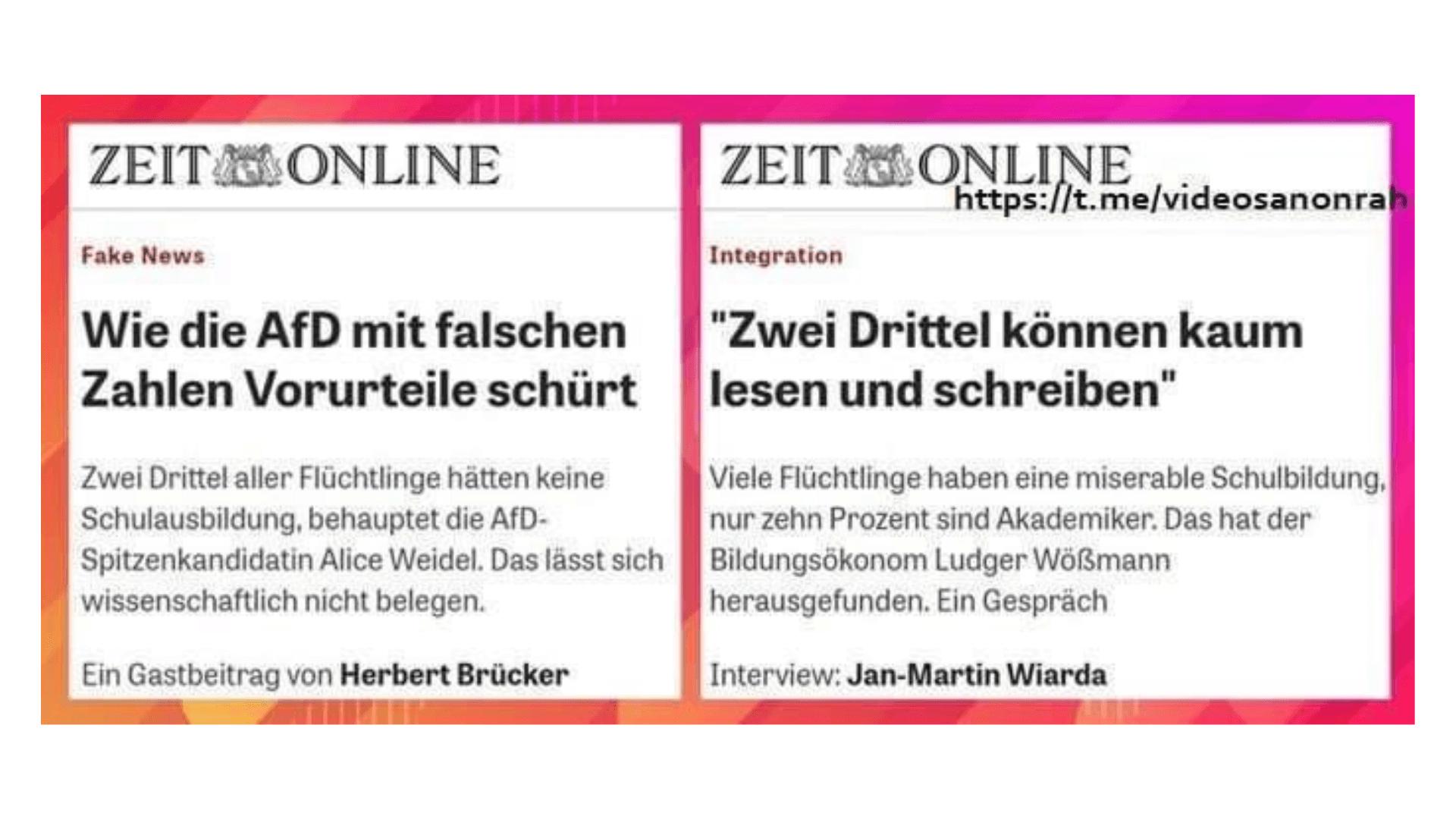 Dieses Bild zweier Artikel von Zeit Online soll zeigen, dass sich die Nachrichtenseite widerspricht - das stimmt aber nicht.