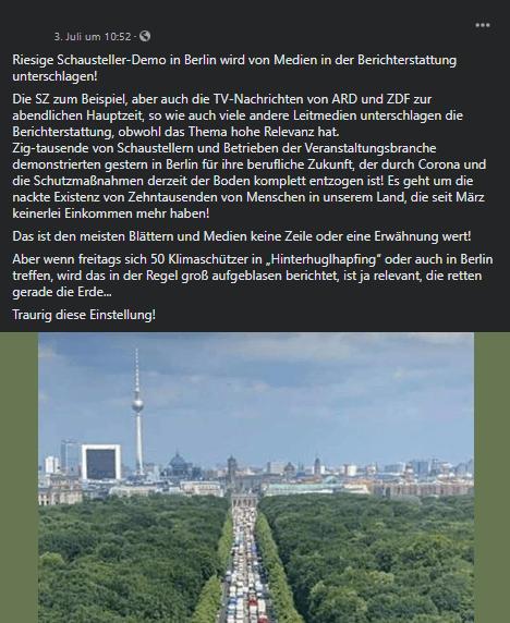 """Corona: Nein, eine Demonstration von Schaustellern in Berlin wurde nicht von den Medien """"unterschlagen"""""""