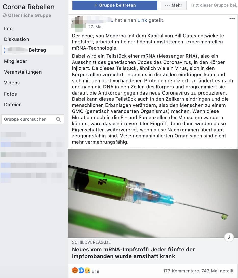 """Studie zu Impfstoff mRNA-1273: Es stimmt nicht, dass jeder fünfte Impfproband """"ernsthaft krank"""" wurde"""