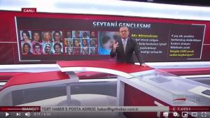 Der Beitrag des türkischen Nachrichtensenders TGRT Haber stellt falsche Behauptungen über Adrenochrom auf. (Quelle: Youtube, Screenshot: CORRECTIV)