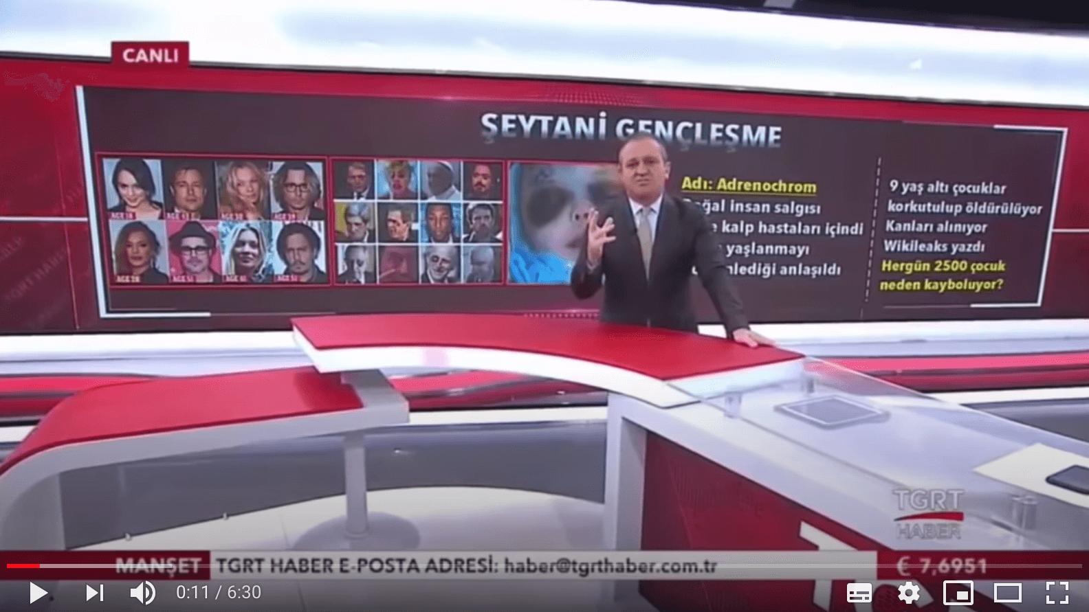 Der Beitrag des türkischen Nachrichtensenders TGRT Haber stellt falsche Behauptungen über Adrenochrom auf.