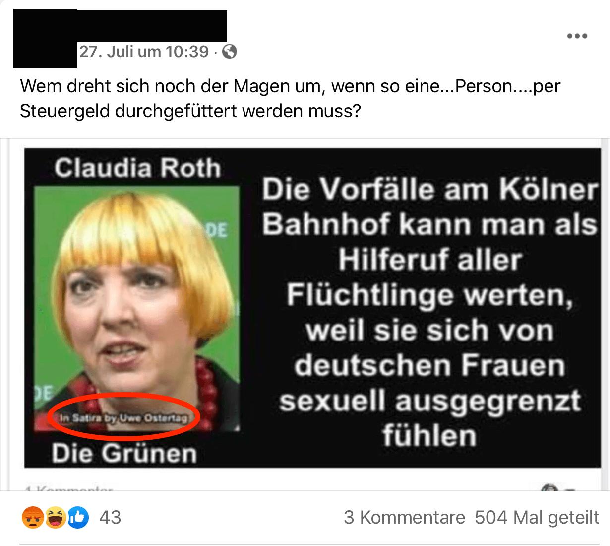 Silvesternacht 2015: Keine Belege, dass Claudia Roth die Übergriffe als Hilferuf Geflüchteter bezeichnet hat