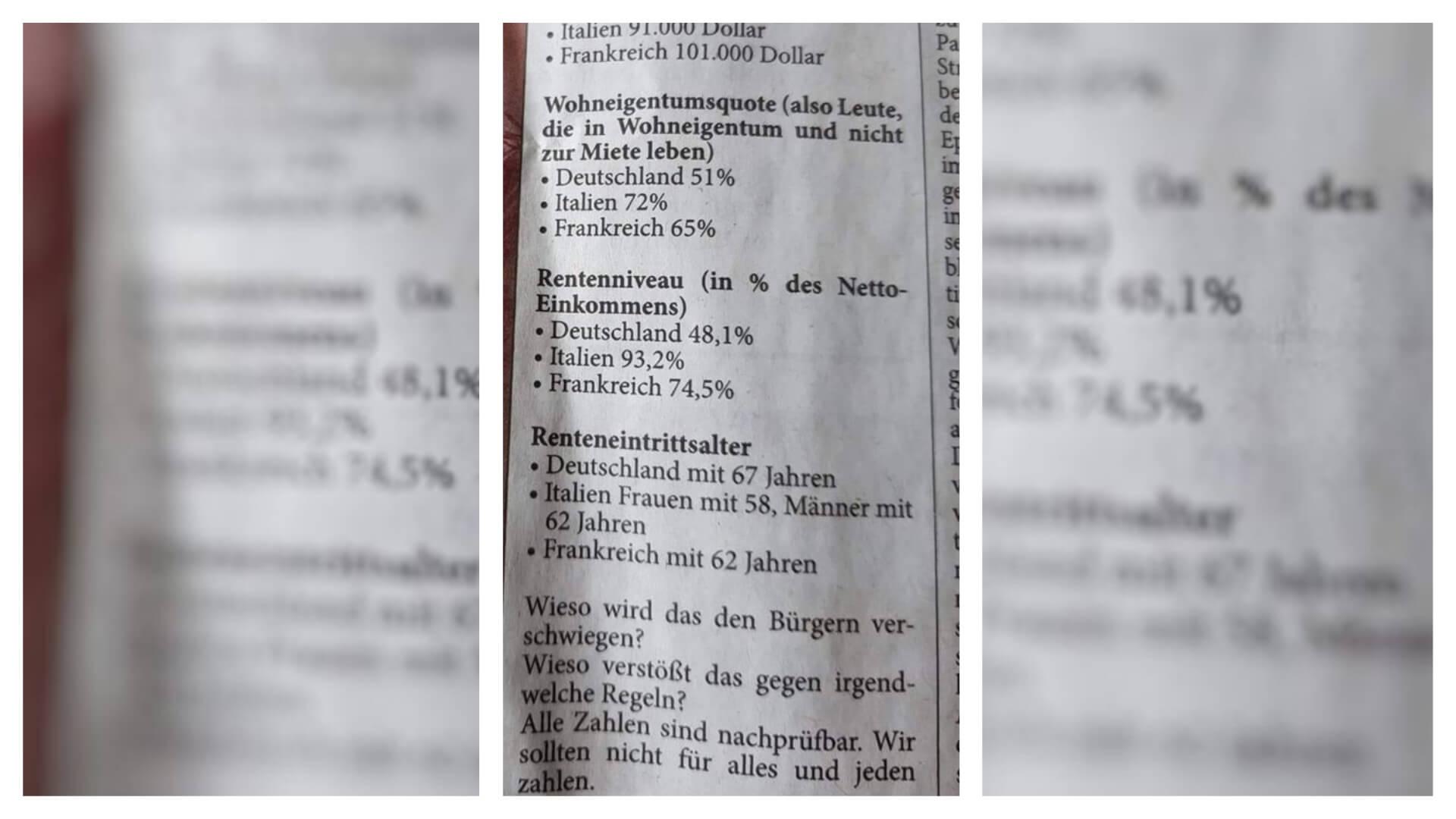 Facebook-Bild zum Rentenniveau in Deutschland, Frankreich und Italien ohne relevanten Kontext