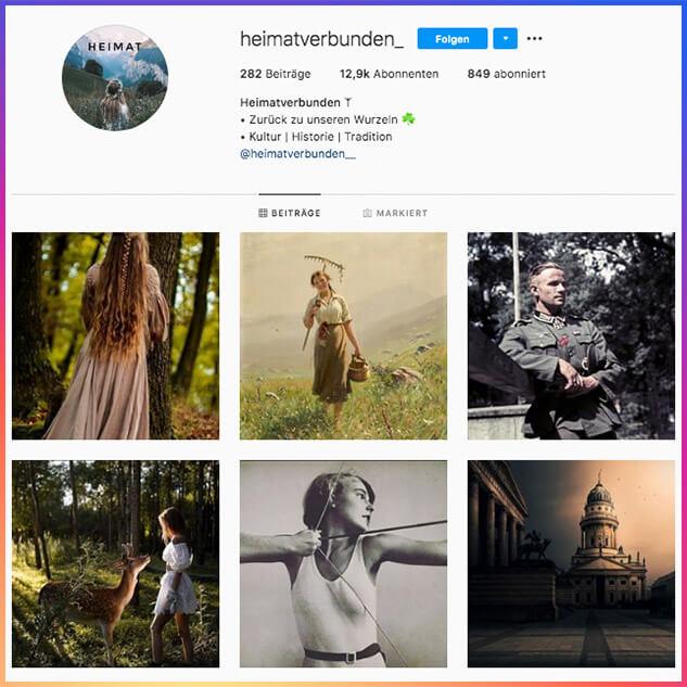 """Das öffentliche Instagram-Profil """"Heimatverbunden"""". Ob es von einer Einzelperson oder einer Organisation betrieben wird, ist unklar."""