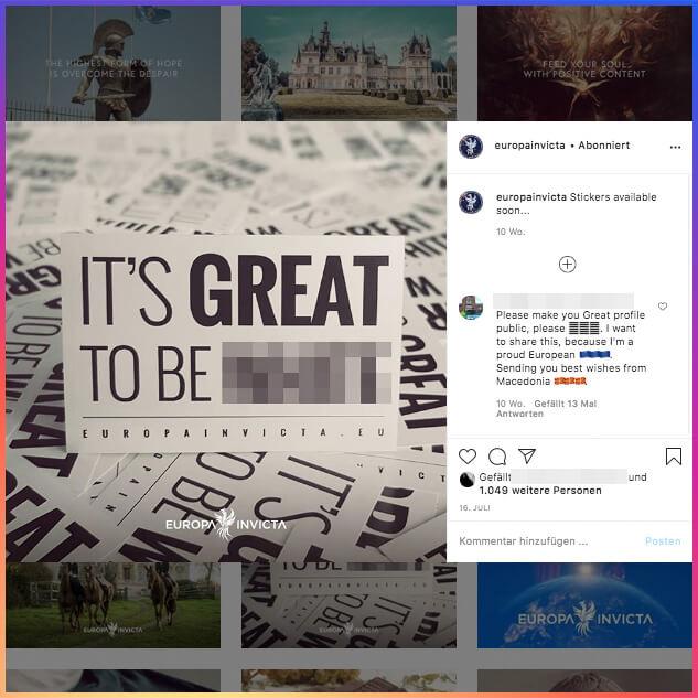 """Ein Beitrag des Labels """"Europa Invicta"""" mit dem Slogan """"It's great to be white"""" – Verpixelung im Bild im Original. Der Instagram-Account ist nicht öffentlich einsehbar."""