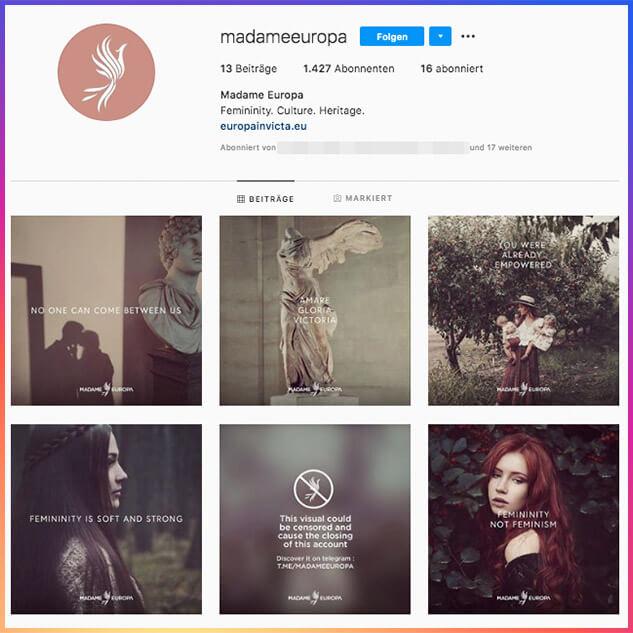 """Der öffentliche Account von """"Madame Europa"""" gehört zum Label """"Europa Invicta""""."""