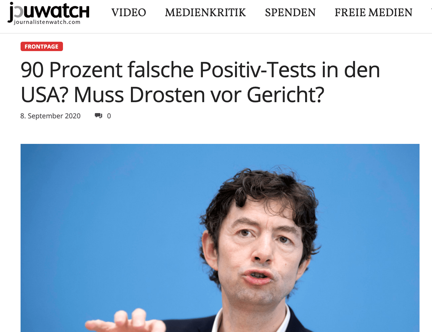 """90 Prozent falsche Positiv-Tests in den USA?"" – Das behauptet der Blog Jouwatch am 8. September."