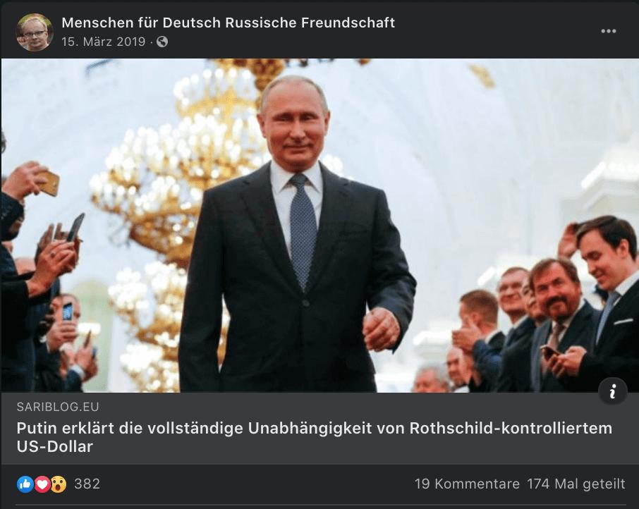 """Der Blog-Beitrag über Putin in der Facebook-Gruppe """"Menschen für Deutsch Russische Freundschaft""""."""