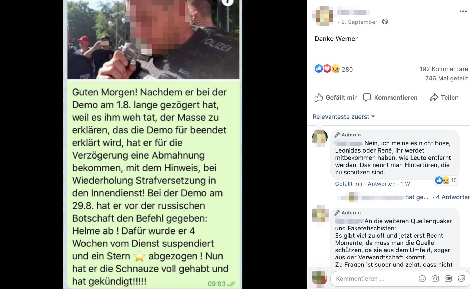 Keine Belege, dass dieser Berliner Polizist nach der Corona-Demo gekündigt hat