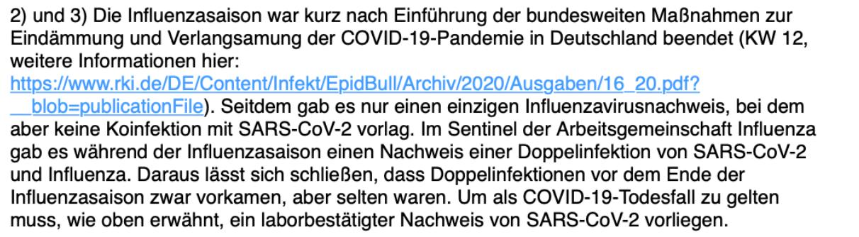 Eine Sprecherin des Robert-Koch-Instituts schreibt in einer E-Mail, dass Doppelinfektionen in der Influenza-Saison 2019/2020 zwar vorkamen, aber selten waren.