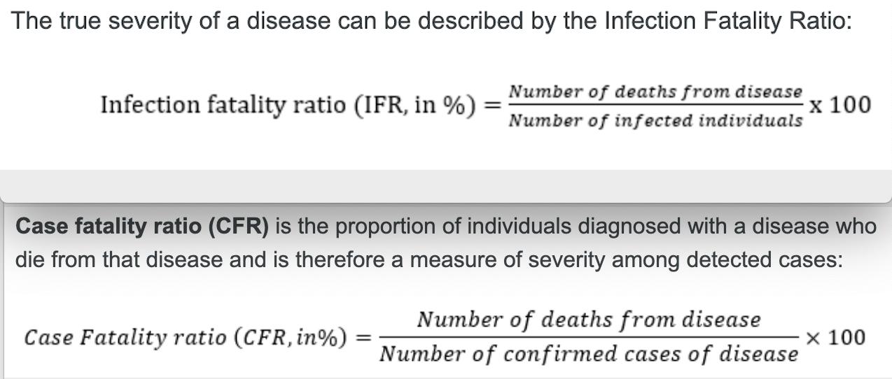 Für die Schätzung, wie tödlich eine Krankheit ist, gibt es zwei Modelle - die Infektions-Sterblichkeitsrate (IFR) und den Fall-Verstorbenen-Anteil (CFR).