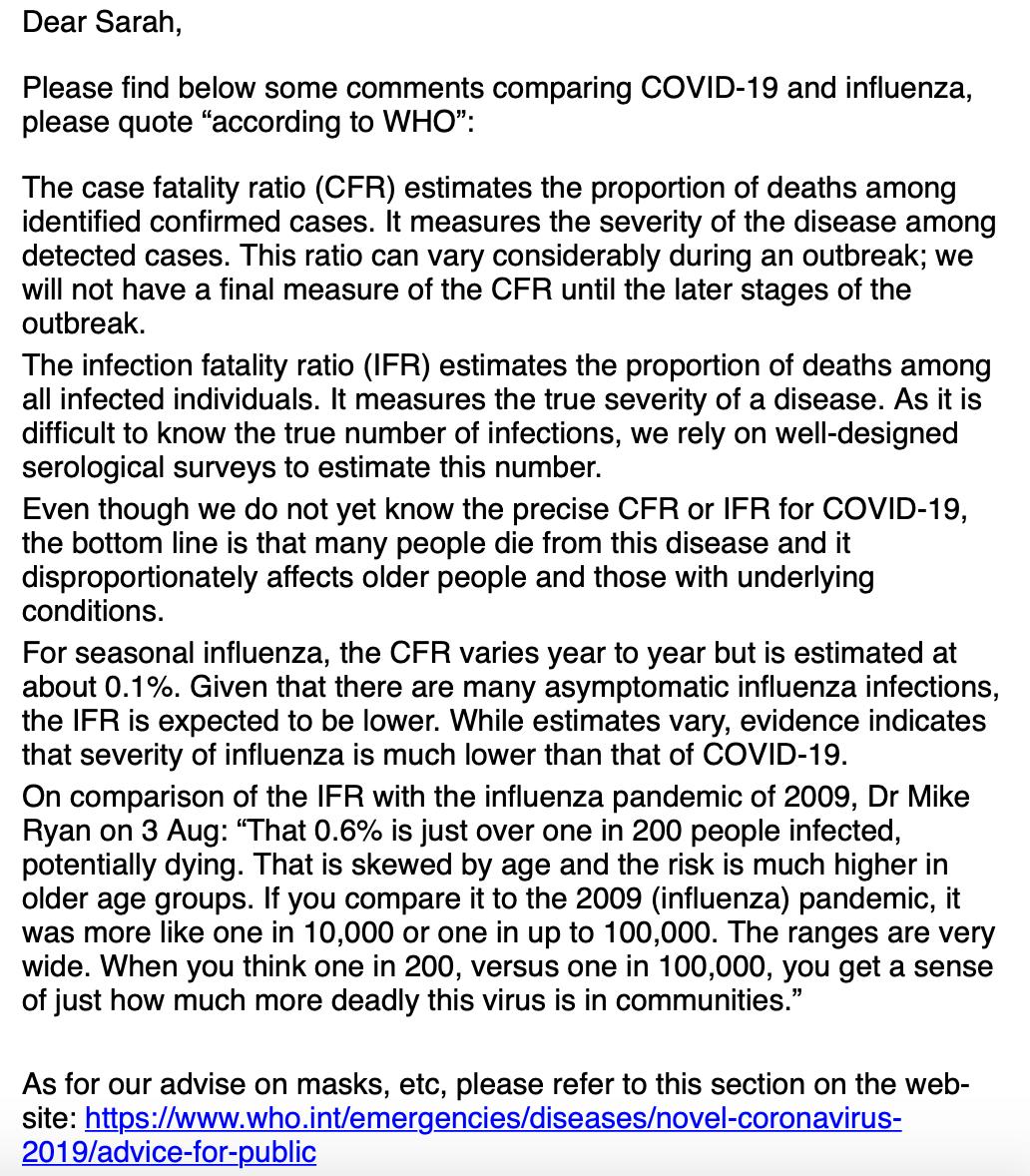 """Sind die Corona-Maßnahmen nötig? Ein Sprecher der WHO schrieb CORRECTIV, dass die Infektions-Sterblichkeitsrate (IFR) etwas über die """"wahre Schwere"""" von Krankheiten aussagt. Sie könne aber noch nicht exakt berechnet werden."""