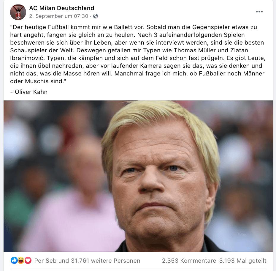 """""""Fangen gleich an zu heulen"""": Keine Belege, dass Oliver Kahn dieses beleidigende Zitat über Fußballer geäußert hat"""