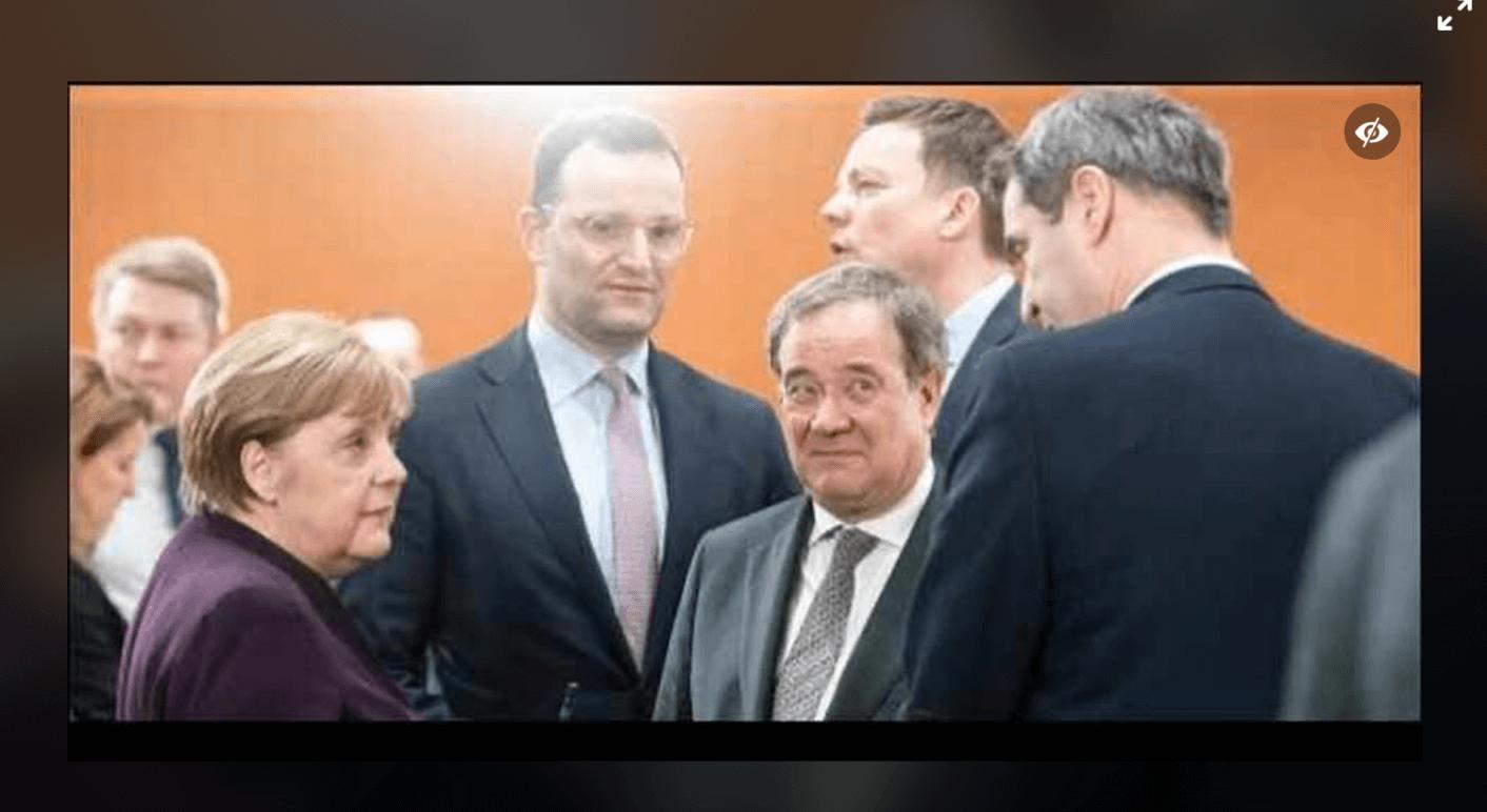 Dieses Foto von Merkel, Spahn, Laschet, Hans und Söder (v. l. n. r.) wurde im März aufgenommen, nicht wie auf Facebook behauptet im Oktober 2020