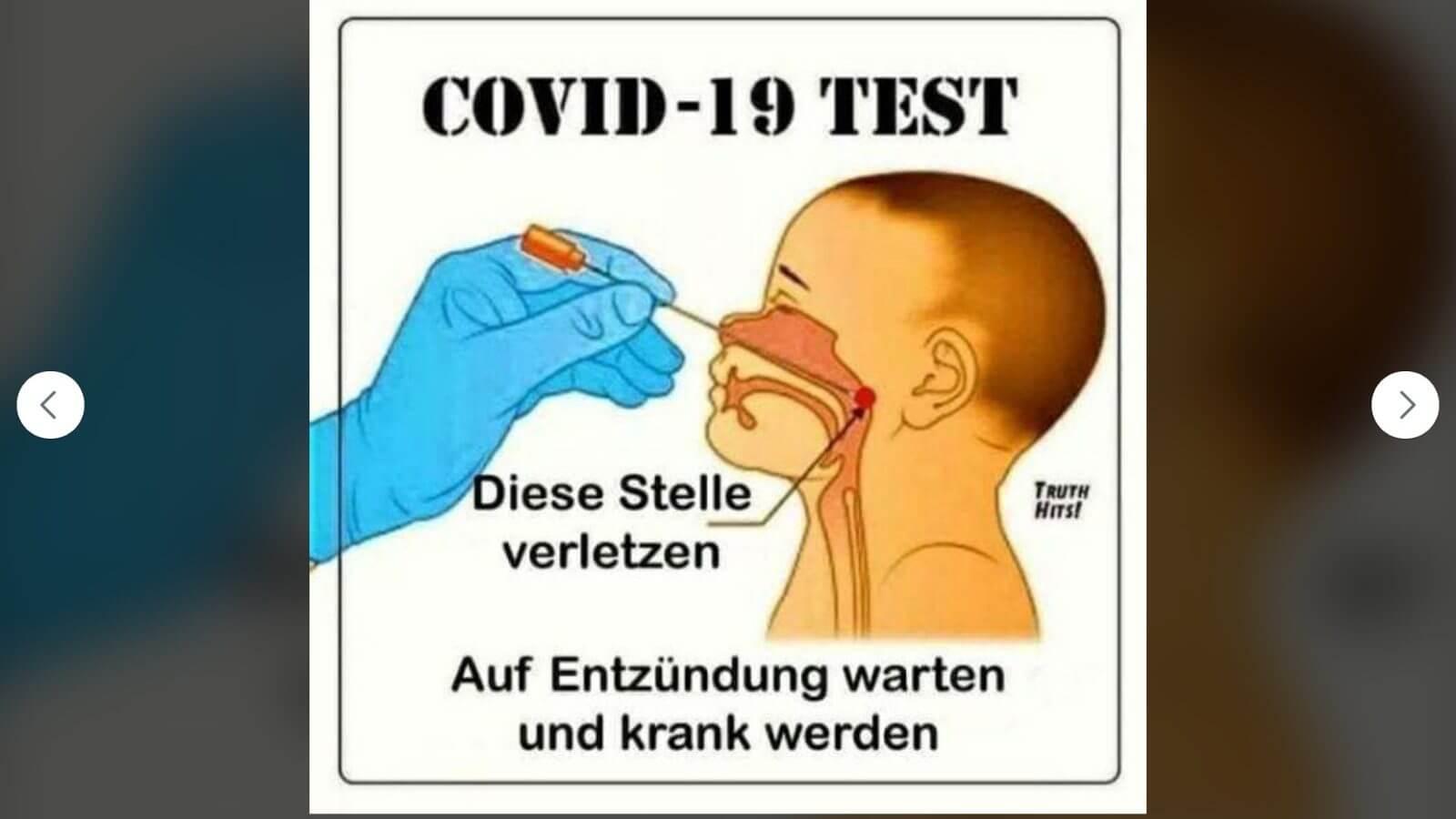 Diese Grafik verbreitet sich auf Facebook mit der Behauptung, ein PCR-Test könne Krankheiten und Entzündungen verursachen. Das stimmt nicht.