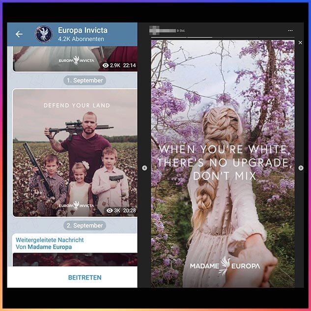 """""""Europa Invicta"""" lockt Instagram-Nutzer auf seinen Telegram-Kanal (links). Das rechte Bild teilte eine junge Frau, der unser fiktiver Account folgt, in ihrer Instagram-Story."""