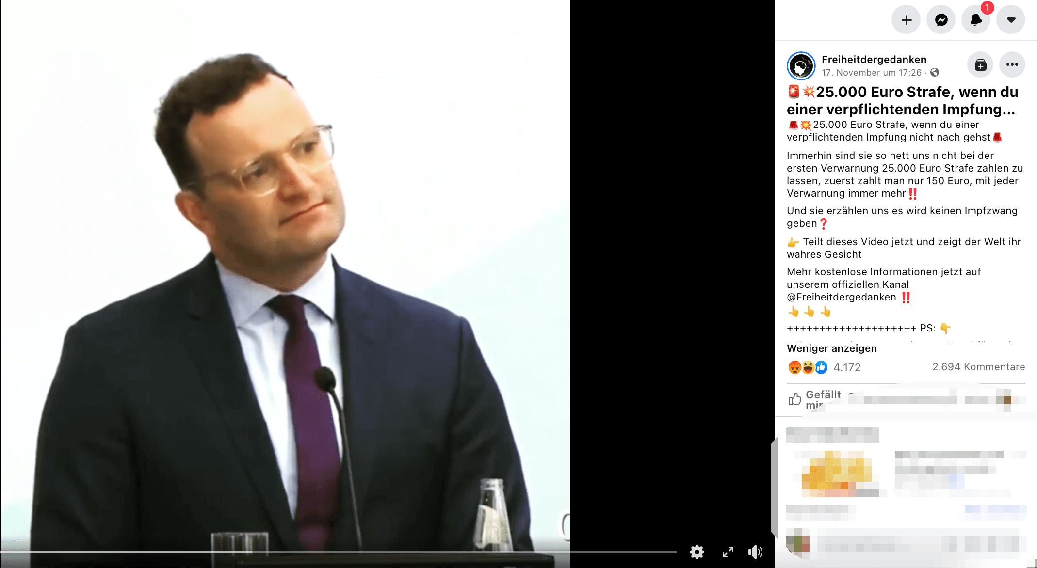 Video irreführend geschnitten: Nein, Jens Spahn kündigte keine Geldstrafe von 25.000 Euro für Nicht-Geimpfte an