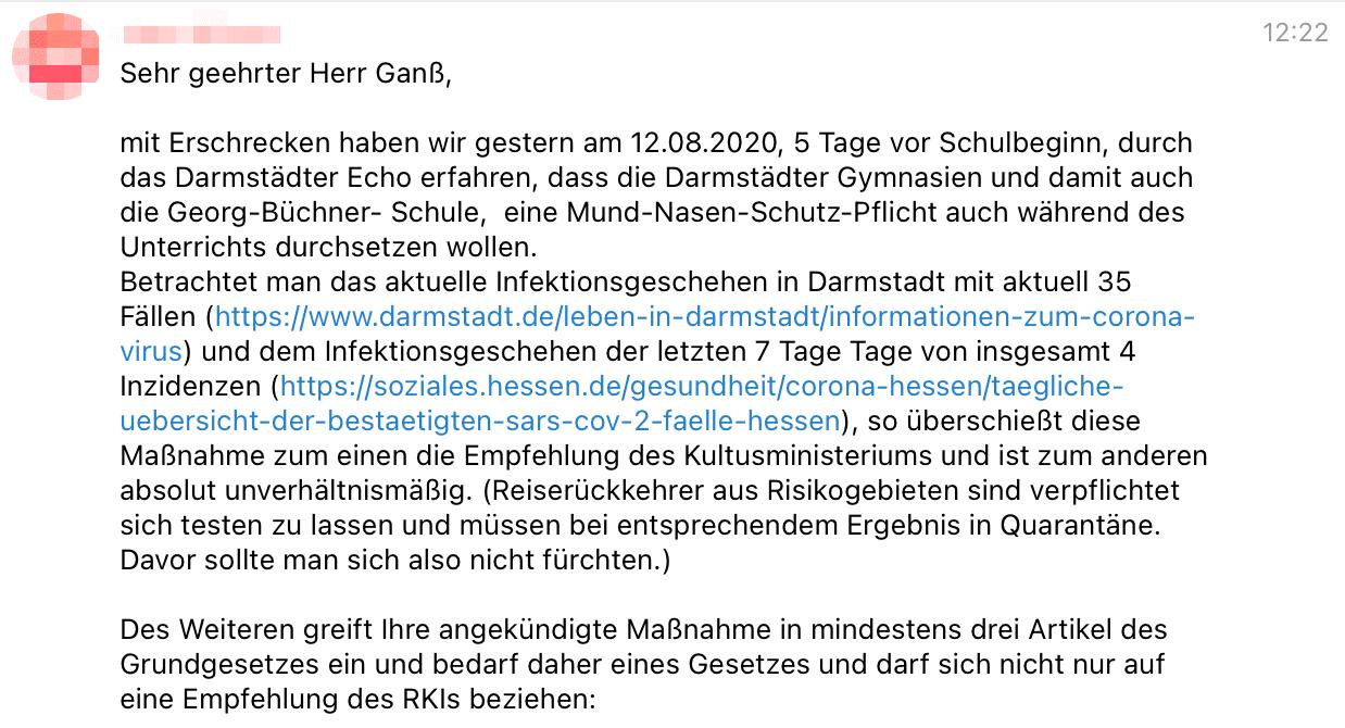 """Beitrag vom 13. August 2020: Ein Schreiben an Ganß wurde in der Gruppe """"Eltern stehen auf Darmstadt"""" veröffentlicht. (Quelle: Telegram / Screenshot: CORRECTIV.Faktencheck)"""