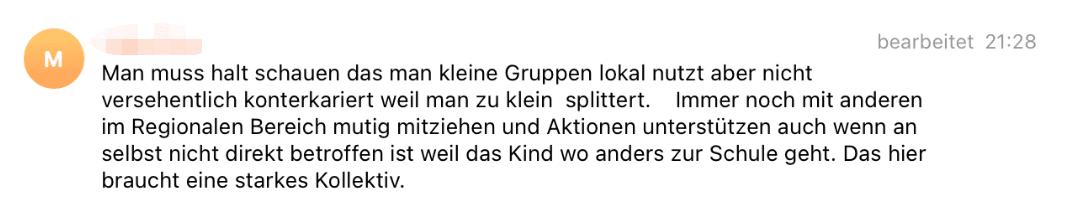 """Beitrag vom 20. Oktober 2020: In der Telegram-Gruppe von Darmstadt schreibt ein Mitglied, man brauche ein """"starkes Kollektiv"""". (Quelle: Telegram / Screenshot: CORRECTIV.Faktencheck)"""