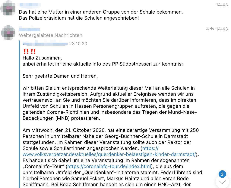 Beitrag vom 23. Oktober 2020: In der Telegram-Gruppe von Darmstadt teilt ein Mitglied ein Schreiben des Polizeipräsidiums Südhessen. (Quelle: Telegram / Screenshot: CORRECTIV.Faktencheck)