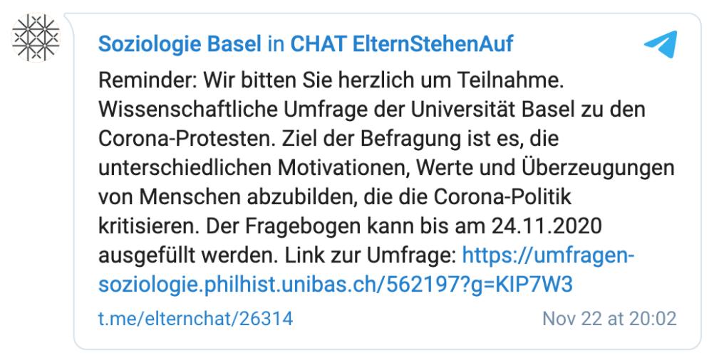 """Die inzwischen deaktivierte Umfrage der Universität Basel in einer Telegram-Gruppe von """"Eltern stehen auf"""", gepostet am 22. November. (Quelle: Telegram / Screenshot: CORRECTIV.Faktencheck)"""