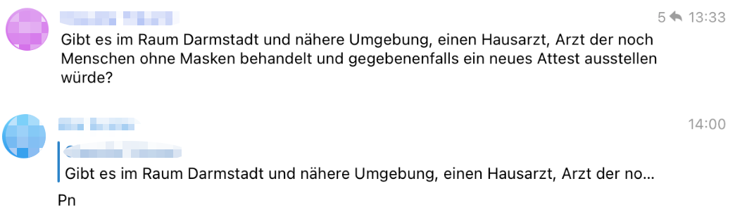 """Beitrag vom 27. November 2020: In der Telegram-Gruppe von """"ElternStehenAuf"""" in Darmstadt geht es um Masken-Atteste. Der Hinweis """"Pn"""" bedeutet soviel wie: """"Schreiben Sie mir persönlich"""". (Quelle: Telegram / Screenshot: CORRECTIV.Faktencheck)"""