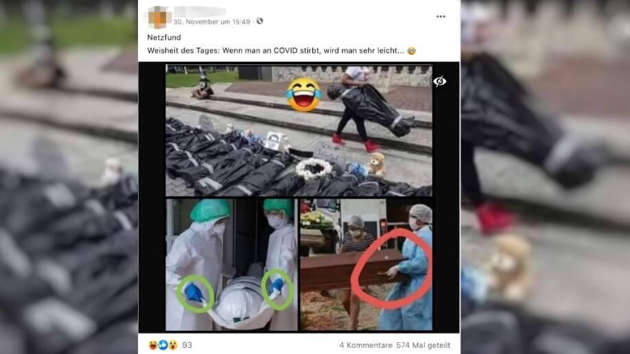 Nein, diese Bilder von Leichensäcken und einem Sarg zeigen nicht, dass Corona-Todesfälle inszeniert werden