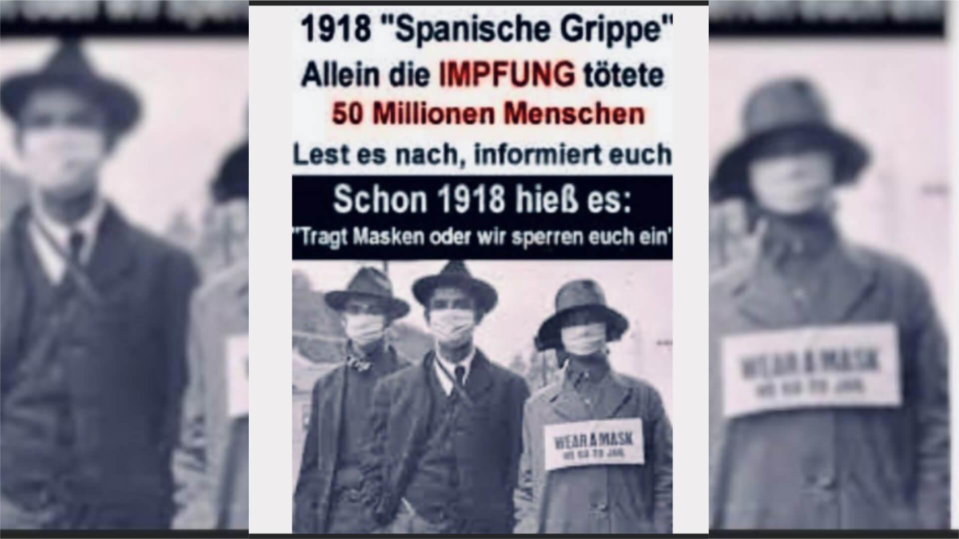 Es gab keinen Impfstoff gegen die Spanische Grippe 1918 – daher konnte niemand an einer Impfung sterben