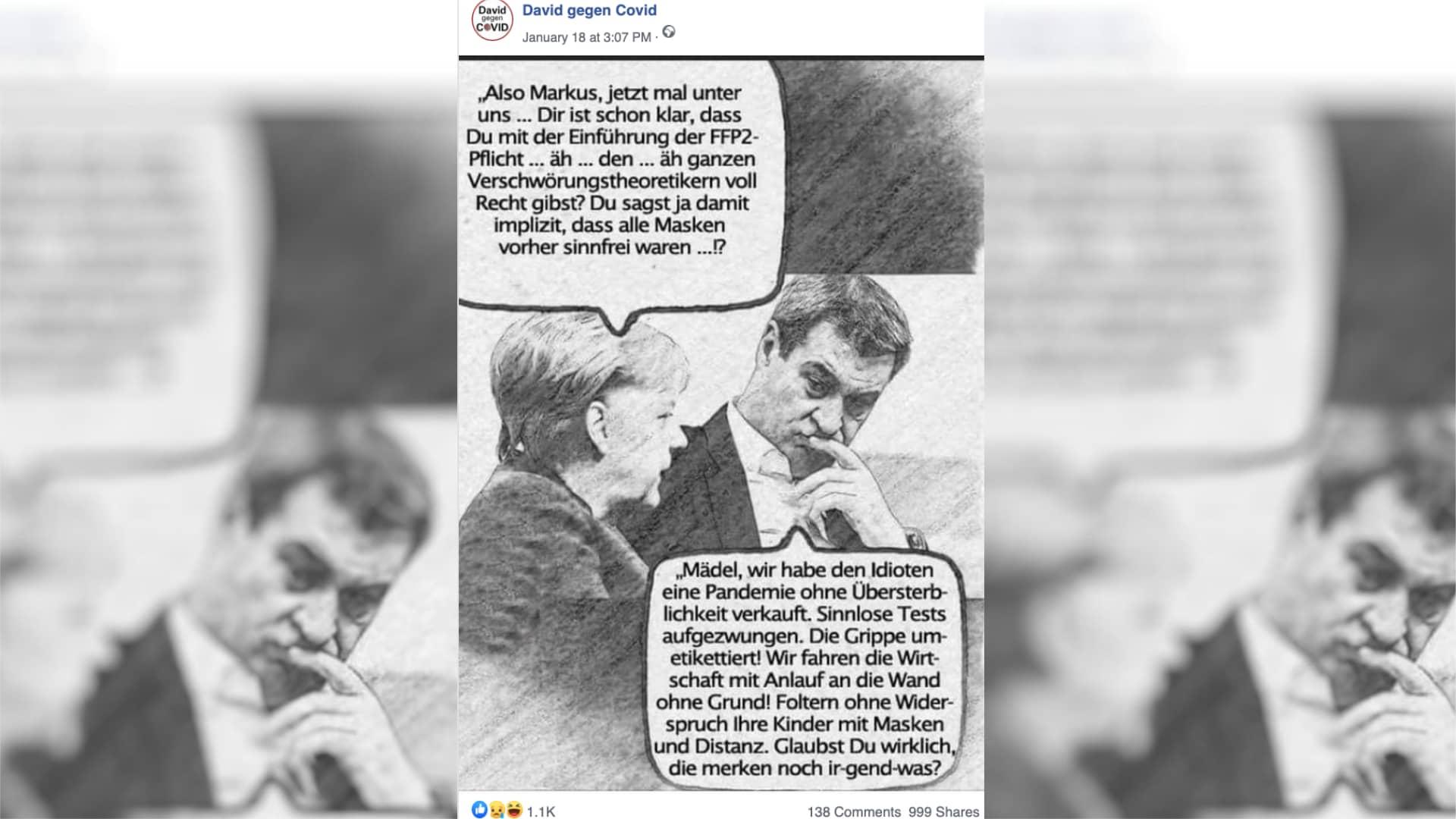 Meme mit Söder und Merkel: Irreführende Behauptungen über die Corona-Pandemie