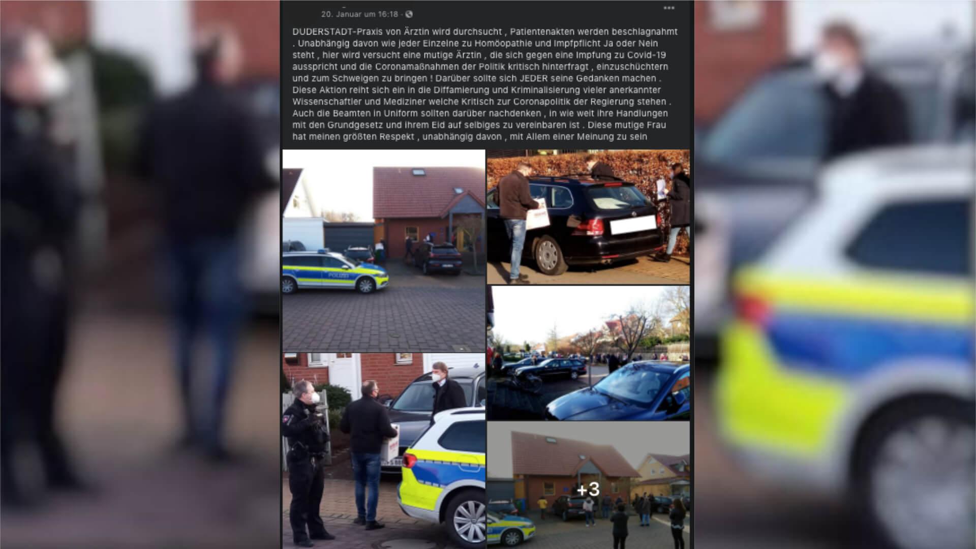 Polizeieinsatz bei Ärztin in Duderstadt: Diesem Beitrag fehlt relevanter Kontext