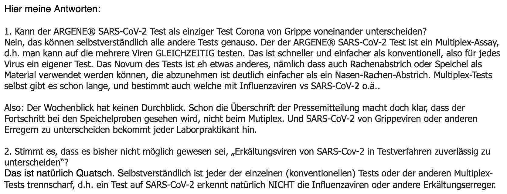 E-Mail von Virologe Friedemann Weber.