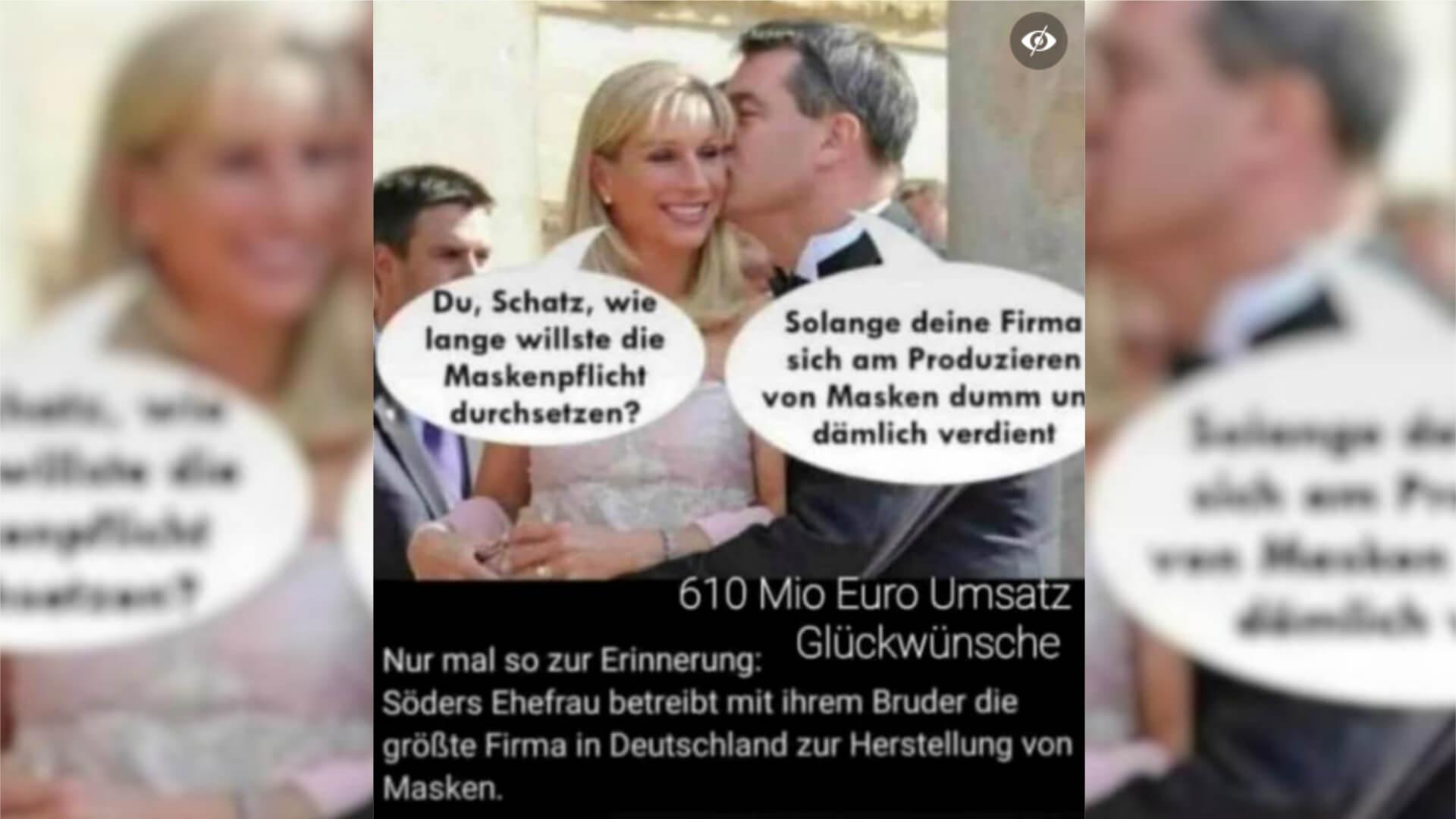 Nein, die Firma von Karin Baumüller-Söder stellt keine Masken her