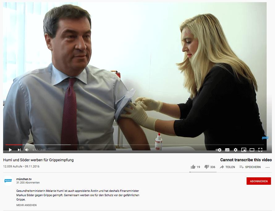 Markus Söders Grippeimpfung