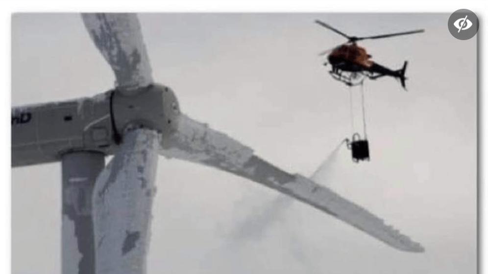 Nein, dieses Foto zeigt nicht, wie eine Windkraftanlage mit Chemikalien enteist wird