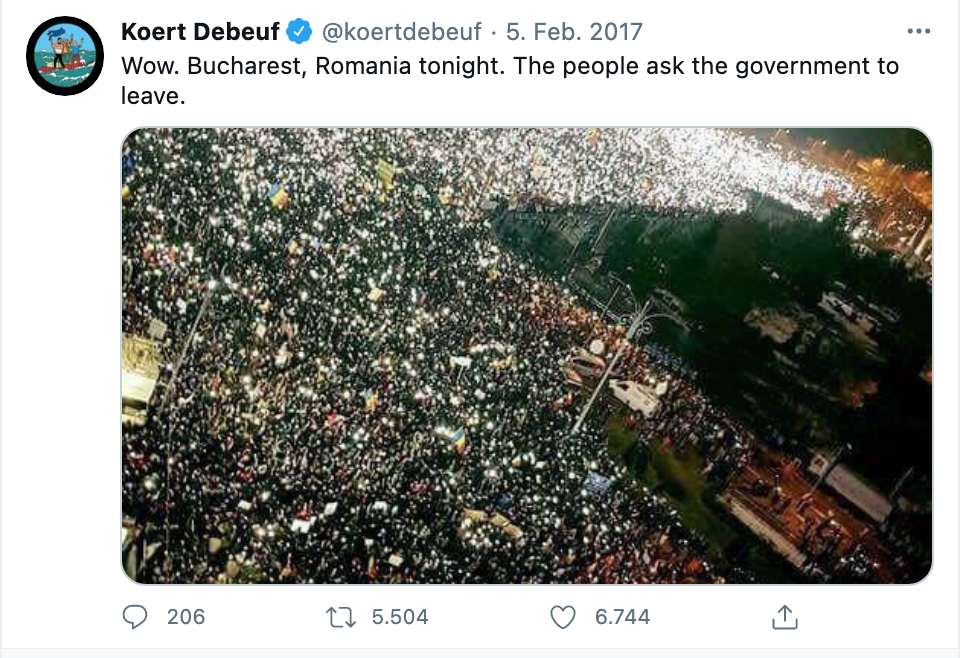 Dasselbe Foto wurde im Februar 2017 von Koert Debeuf, einem ehemaligen Berater des belgischen Premierministers, geteilt.