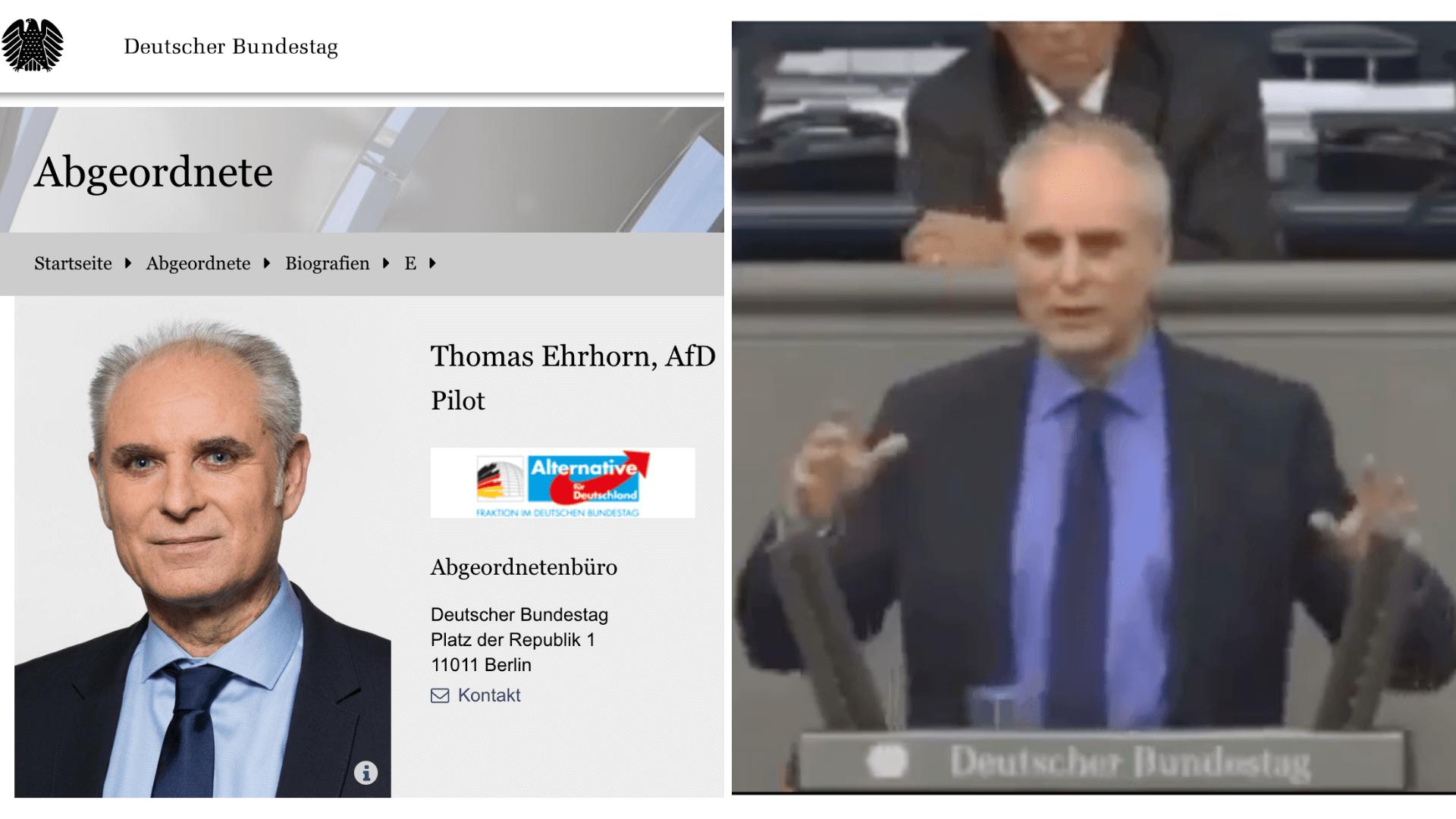 Gegenüberstellung des Fotos von Ehrhorn auf der Webseite des Bundestags (links) mit einem Screenshot aus der Rede des Abgeordnenten, die sich in Sozialen Netzwerken verbreitet (rechts). (Quelle: Bundestag / Facebook / Screenshots und Collage: CORRECTIV.Faktencheck)