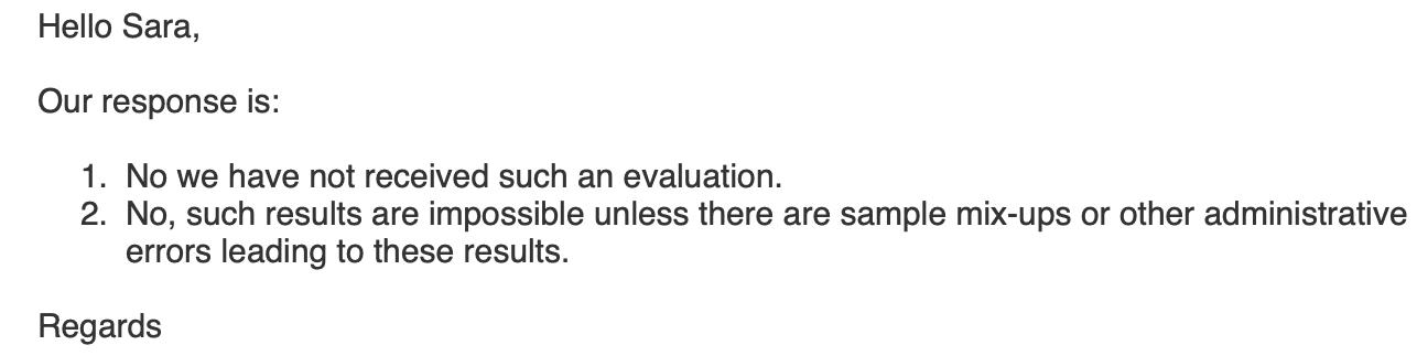 In einer E-Mail bestätigt uns das Europäische Zentrum für die Prävention und die Kontrolle von Krankheiten, dass eine solche Auswertung dort nie eingereicht wurde.