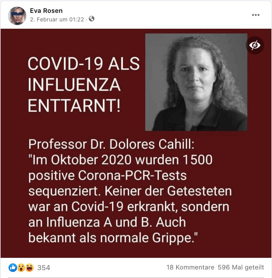 Das Sharepic auf Facebook zeigt ein Foto von Dolores Cahill.