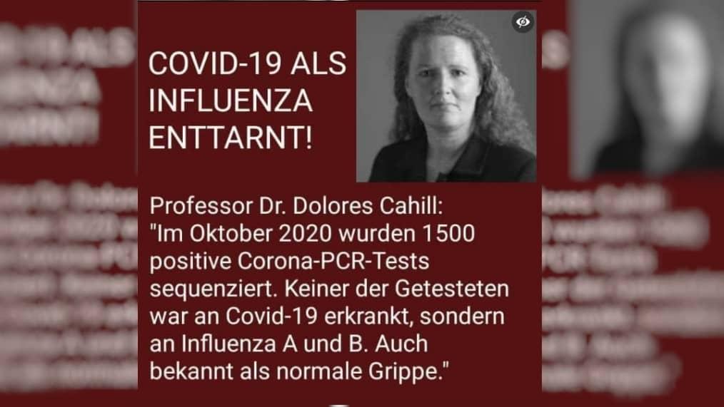 """Nein, Dolores Cahill hat Covid-19 nicht """"als Influenza enttarnt"""""""