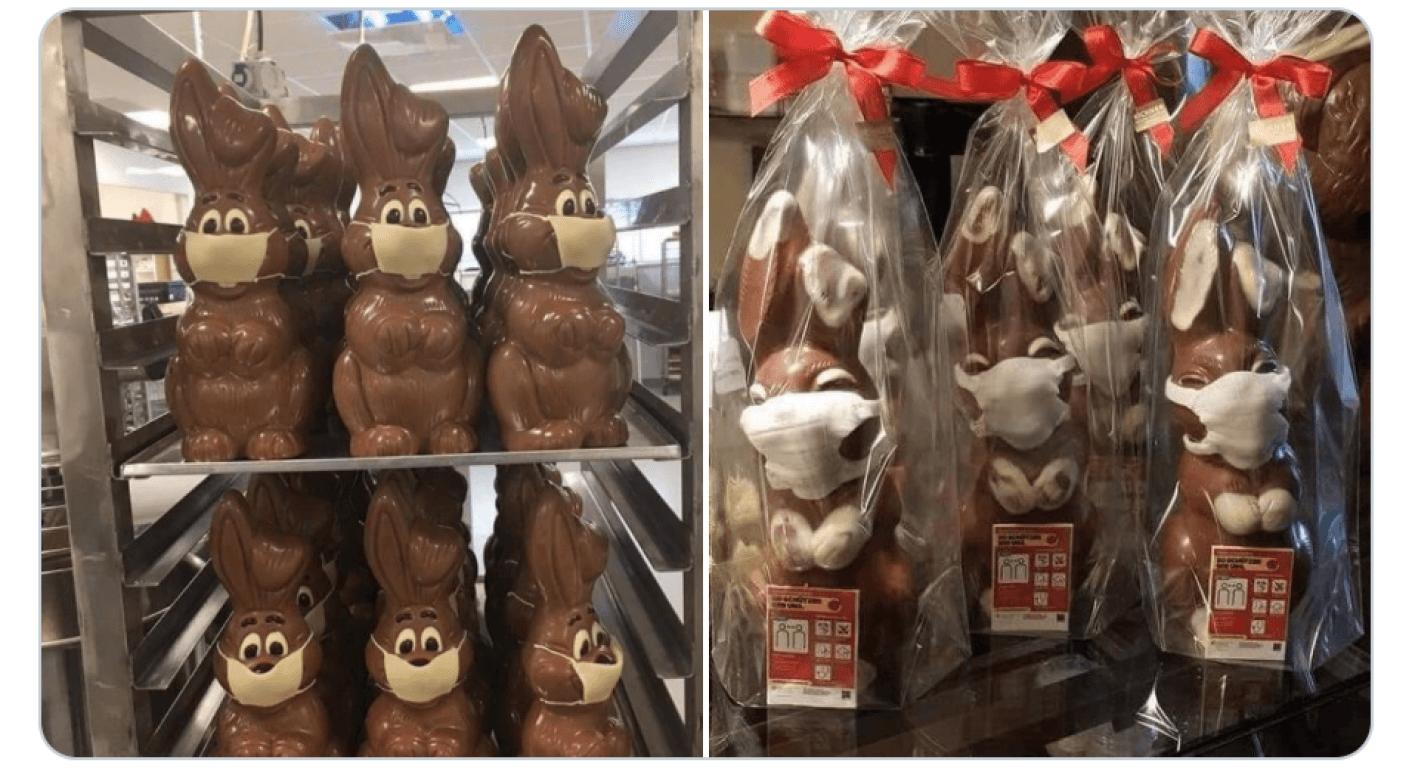 Fotos von Schokoladenhasen mit Masken kursieren aktuell in Sozialen Netzwerken