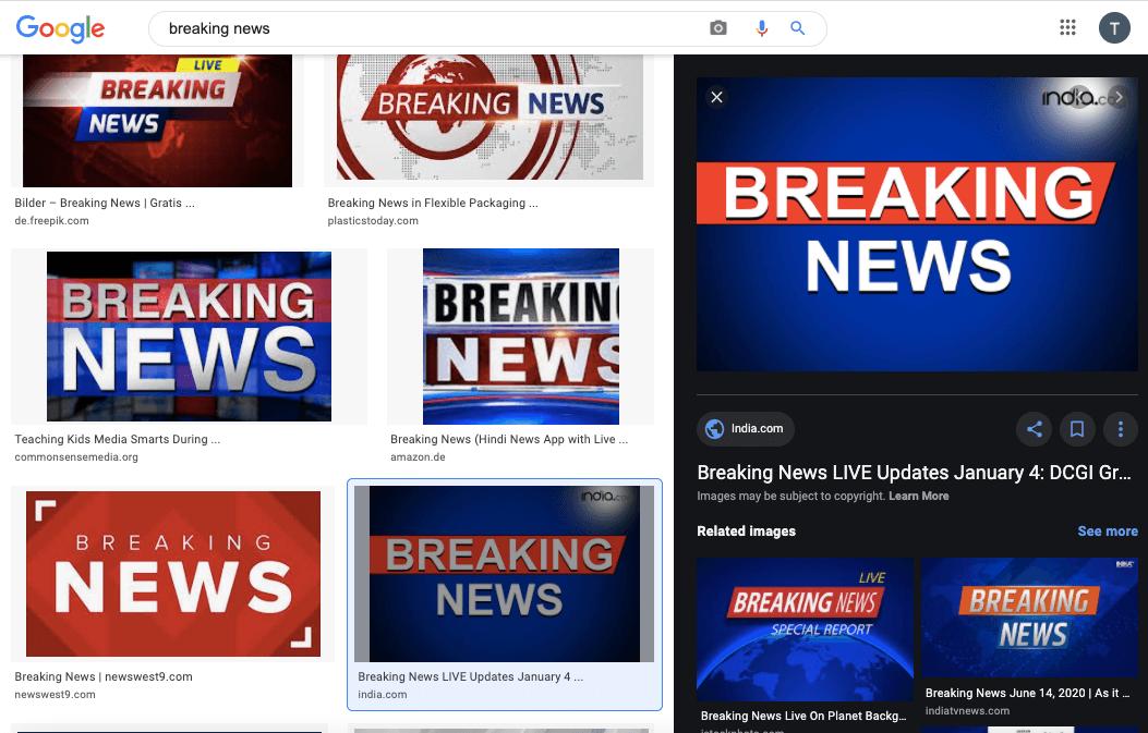 """Eine Google-Suche nach dem Stichwort """"Breaking News"""" führte zu dem Label im Screenshot (Quelle: Google, Screenshot: CORRECTIV.Faktencheck)"""