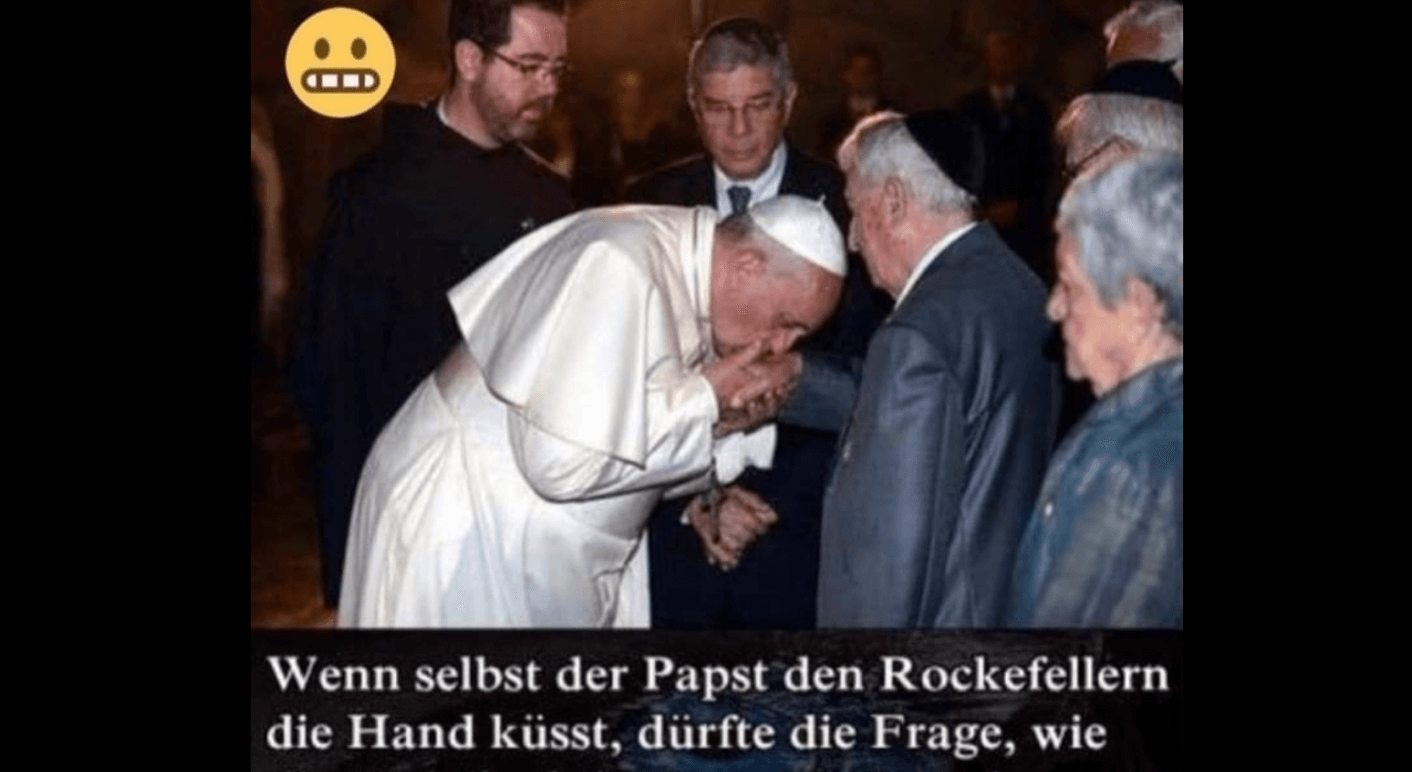 Dieses Foto, das den Papst zeigt, wie er einem Mann die Hand küsst, kursiert aktuell auf Facebook (Quelle: Facebook / Screenshot: CORRECTIV.Faktencheck)