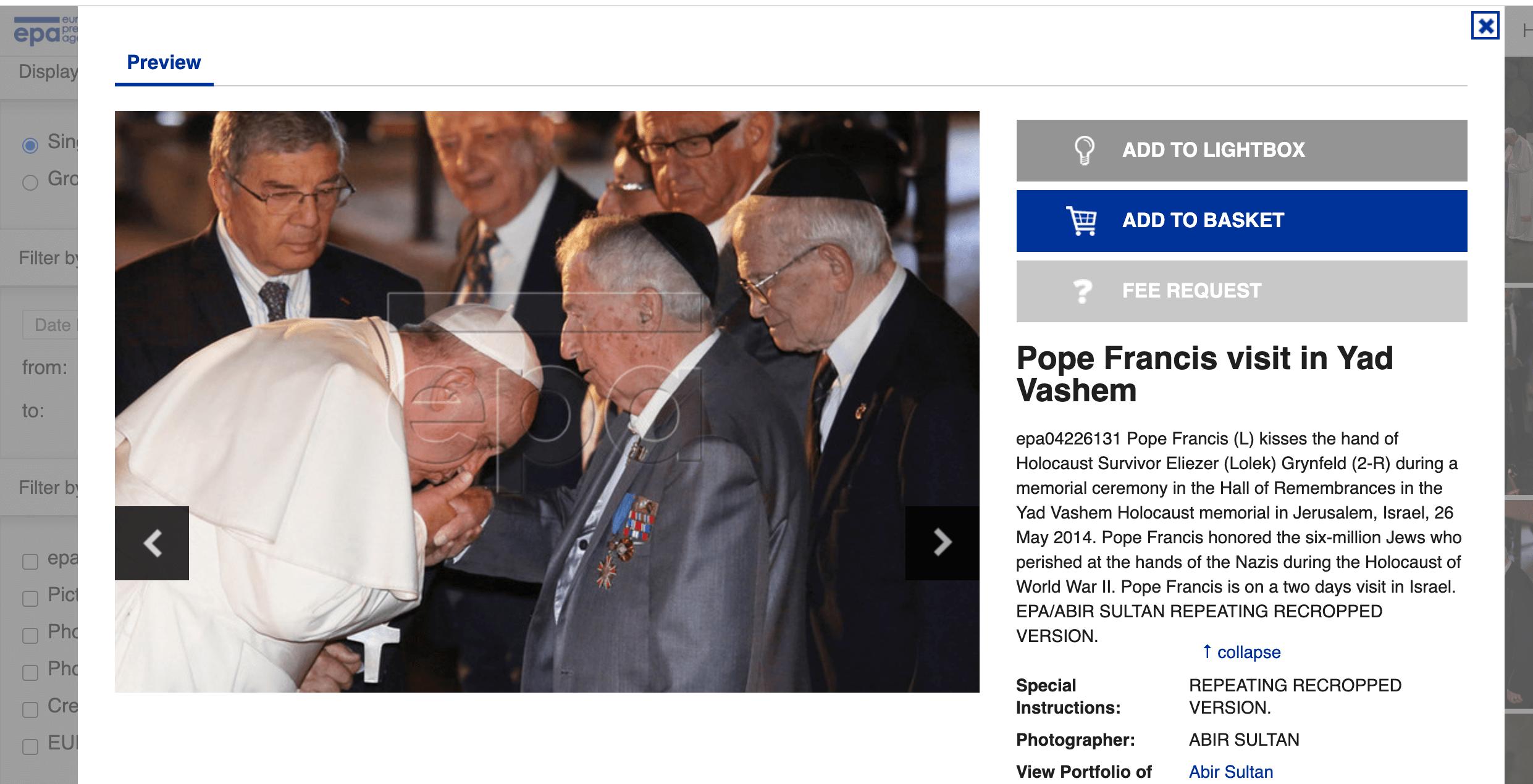 Das Foto von Papst Franziskus und dem Holocaust-Überlebenden Eliezer Grynfeld bei der European Pressphoto Agency (Screenshot: CORRECTIV.Faktencheck)