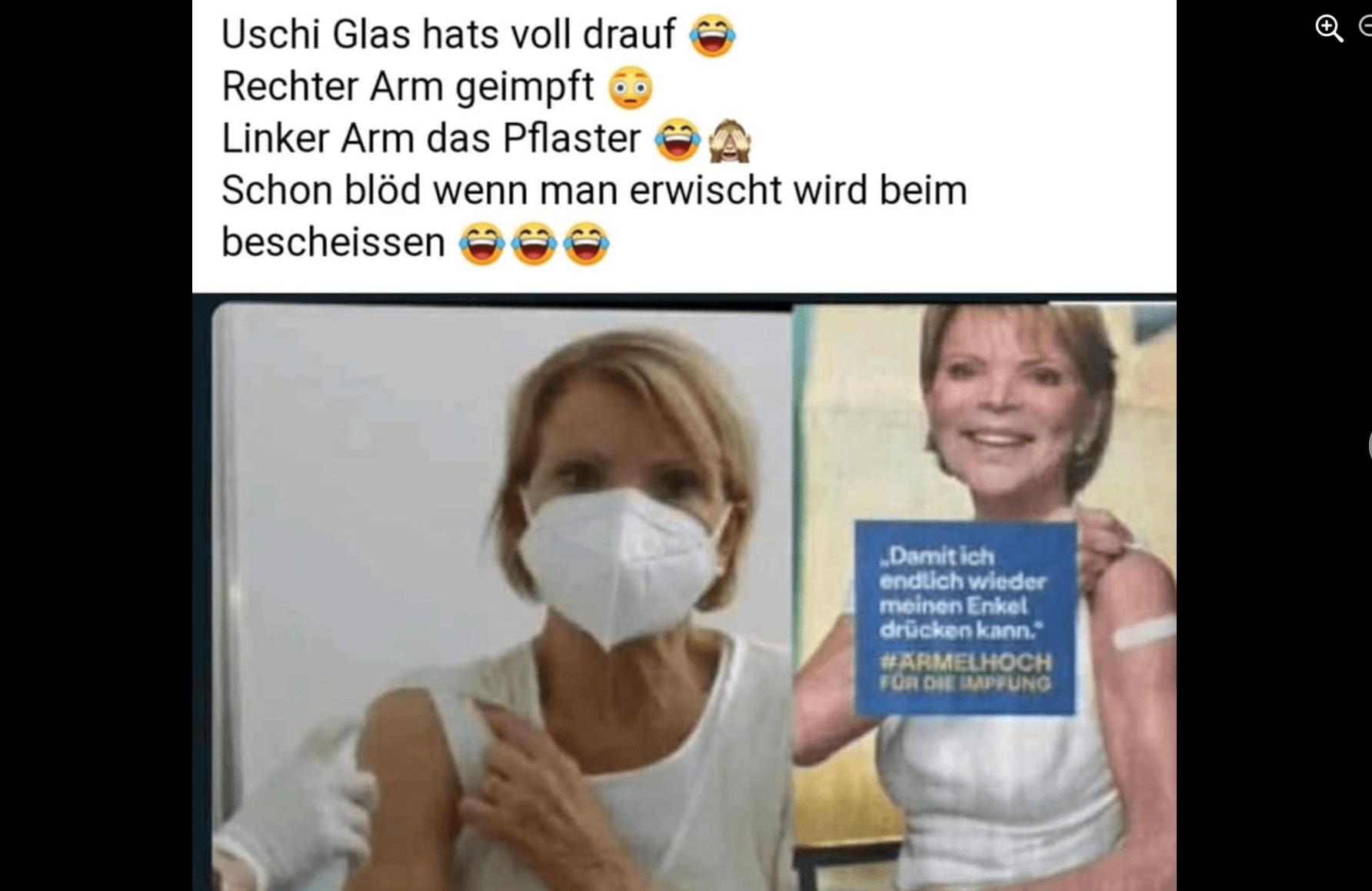 Einer der Facebook-Beiträge, der Uschi Glas eine Fake-Impfung unterstellt (Quelle: Facebook / Screenshot: CORRECTIV.Faktencheck)