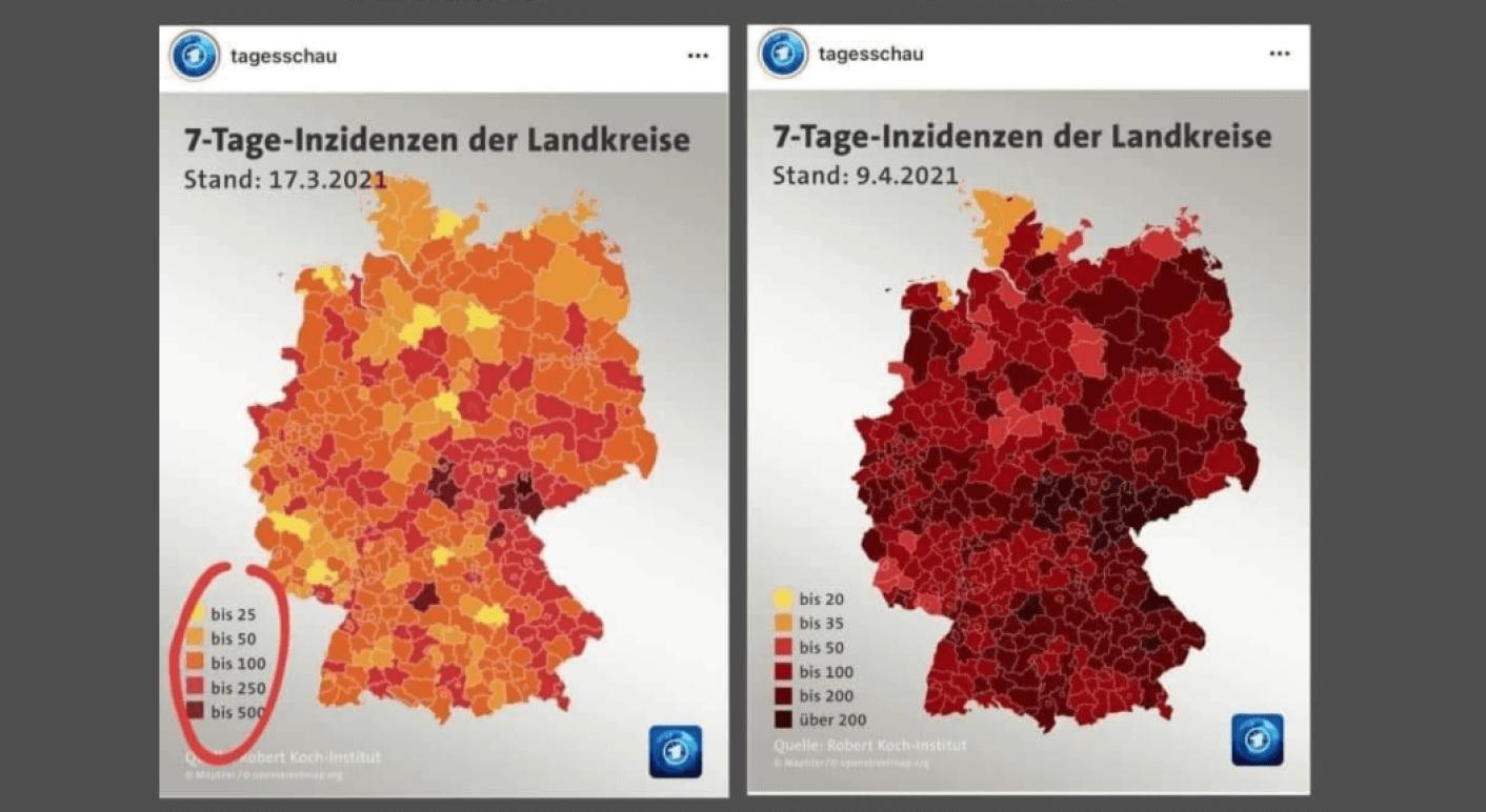 Auf Grundlage des Vergleichs dieser beiden Karten der Tagesschau zur 7-Tage-Inzidenz der deutschen Landkreise werfen Nutzer in Sozialen Netzwerken der ARD Manipulation und eine überdramatische Darstellung der Infektionslage vor. (Quelle: Facebook / Screenshot: CORRECTIV.Faktencheck)